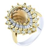 Кольцо из серебра и бронзы Кристиана с раухтопазом и фианитами