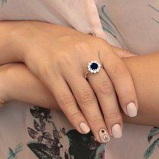 Серебряное кольцо Гиана в форме цветка с синтезированными сапфирами и фианитами