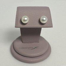 Серебряные пуссеты Кларисса с шариками жемчужин 8-8,5мм