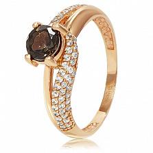 Золотое кольцо Вива с раухтопазом и фианитами
