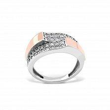Серебряное кольцо Сабина с золотыми накладками, фианитами и родием