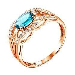 Кольцо из красного золота с голубым топазом и цирконием 000133743