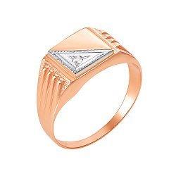 ДубльЗолотой перстень-печатка в комбинированном цвете с цирконием 000117649
