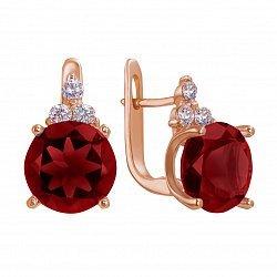 Золотые серьги Вайнона в красном цвете с гранатом и фианитами