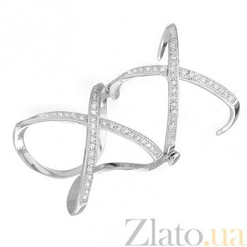 Серебряное бандажное кольцо с фианитами Лондон 000028078