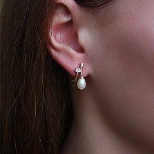 Золотые серьги с бриллиантами и жемчугом Принцесса морей