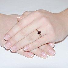 Кольцо из красного золота с гранатом и бриллиантами Ария