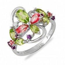 Кольцо из белого золота Королева лета с бриллиантами, аметистом, хризолитом и розовым топазом