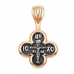 Серебряный крестик с позолотой и чернением 000134955