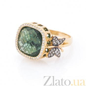 Золотое кольцо Блестящая бабочка в желтом цвете с зеленым и белыми фианитами 000082351
