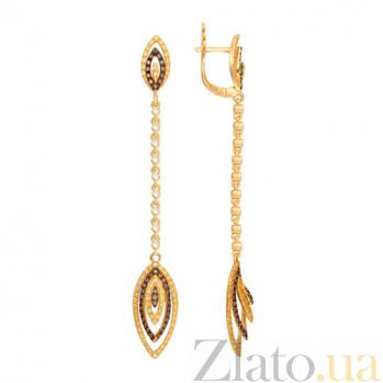 Удлиненные серьги Карина из желтого золота и цирконами VLT--ТТТ2334