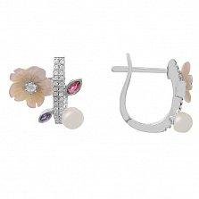 Серебряные серьги Морской цветок с белым жемчугом, перламутром и разноцветным цирконием