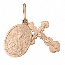Серебряный крестик с ладанкой Духовное совершенство с позолотой