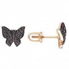 Серьги-пуссетыв красном золоте Парящая бабочка с черными фианитами