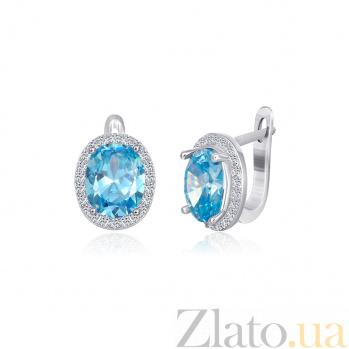 Серьги из серебра Аглая с голубыми и белыми фианитами 000024606