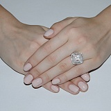 Серебряное кольцо с фианитами Квадро