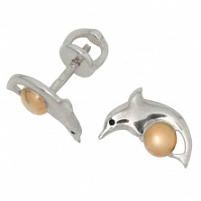 Серебряные серьги с золотыми вставками Дельфины