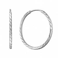 Серебряные серьги-конго Лучистое сияние с алмазной гранью, 15мм