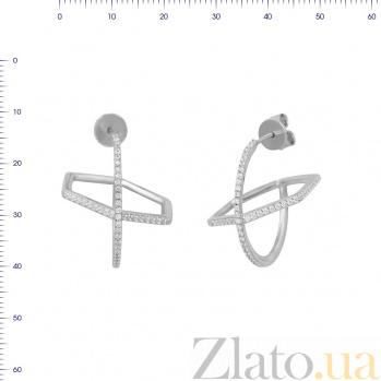 Серебряные серьги-пуссеты Арбери с фианитами 000081922