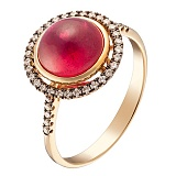 Кольцо в желтом золоте Нонна с рубином и бриллиантами