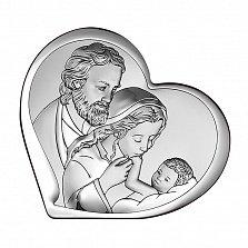 Католическая икона Святое Семейство в форме сердца, 11х9,6см