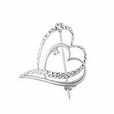 Серебряная брошь Сердечный унисон с фианитом и алмазной гранью