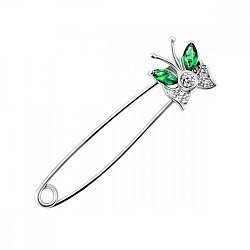Серебряная булавка с зелеными и белыми фианитами 000027991