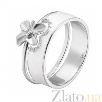 Двойное кольцо в белом золоте Августина с эмалью и фианитами 000044957