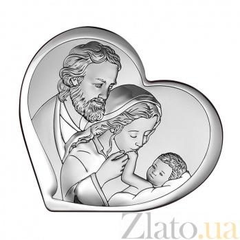Католическая икона Святое Семейство в форме сердца, 11х9,6см 000061952