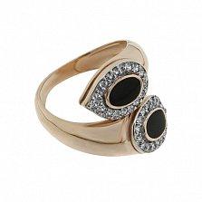 Золотое кольцо с эмалью и фианитами Доказательство любви