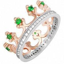Серебряное кольцо Монархия с зелеными фианитами