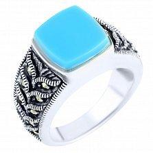 Серебряное кольцо Пэрис с бирюзой и марказитом