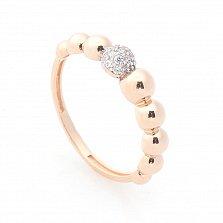 Золотое кольцо Мыльные пузыри в красном цвете с шинкой в виде полусфер и фианитами в стиле Ван Клиф