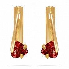 Золотые серьги Мэган с синтезированным рубином