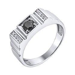 Серебряный перстень-печатка с цирконием 000140549