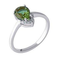 Серебряное кольцо с султанитом, фианитами и родированием 000128949