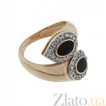 Золотое кольцо с эмалью и фианитами Доказательство любви TNG--320725Е