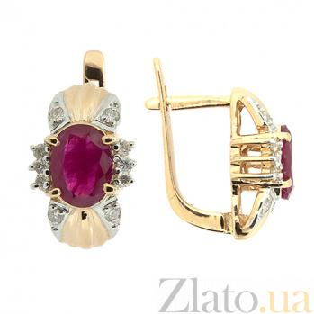 Золотые серьги с бриллиантами и рубинами Флора ZMX--ER-6143_K