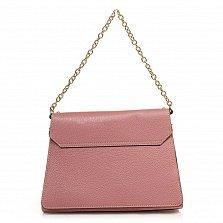 Кожаная деловая сумка 6574 розового цвета с механическим замком и ремнем через плечо