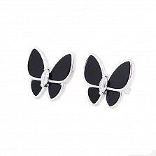 Серебряные серьги-пуссеты Бабочки с ониксом и фианитами
