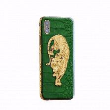 Apple IPhone XS Noblesse TIGER GOLD engraving в зеленой коже и изображением тигра из золота