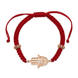 Браслет из золота и плетеной красной нити Хамса 000106320