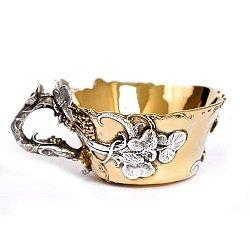 Серебряная чашка Виноградная лоза с позолотой