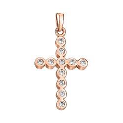 Крестик из красного золота с цирконием 000142340