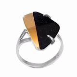Серебряное кольцо с авантюрином и золотой вставкой София