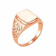 Перстень-печатка Шевалье в красном золоте