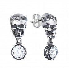 Серебряные пуссеты-подвески Memento mori в виде черепа с белым цирконием