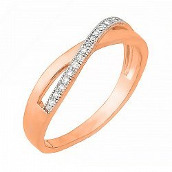 Позолоченное кольцо из серебра с фианитами 000028393