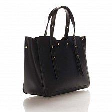 Кожаная деловая сумка Genuine Leather 8920 черного цвета с фигурными краями и мелкими заклепками