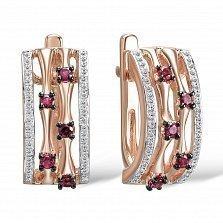 Серьги из красного золота Ирина с бриллиантами и рубинами